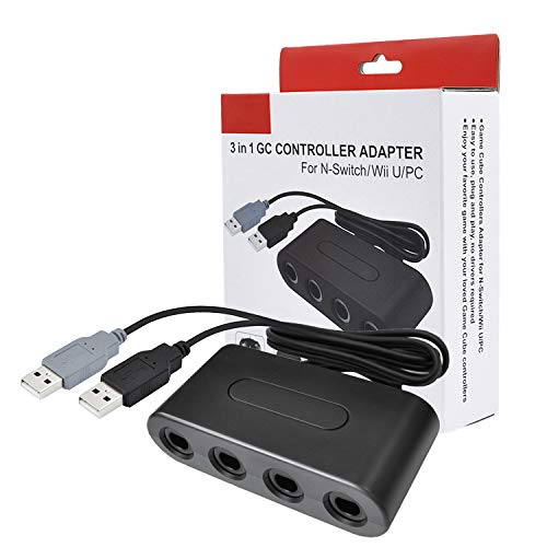 Gamecube Controller Adapter for Wii, Wii U, PC and Switch, 4 Ports
