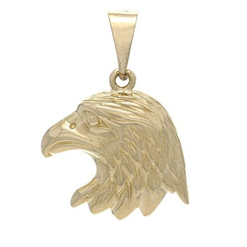 14K Yellow Gold Majestic Eagle or Hawk Head Charm or Pendant (7/8
