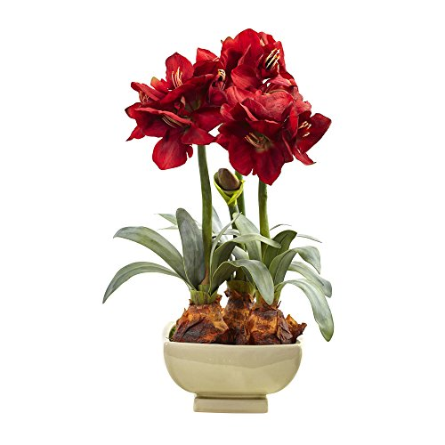 Nearly Natural Amarylis Arrangement with Vase, Red by Nearly Natural