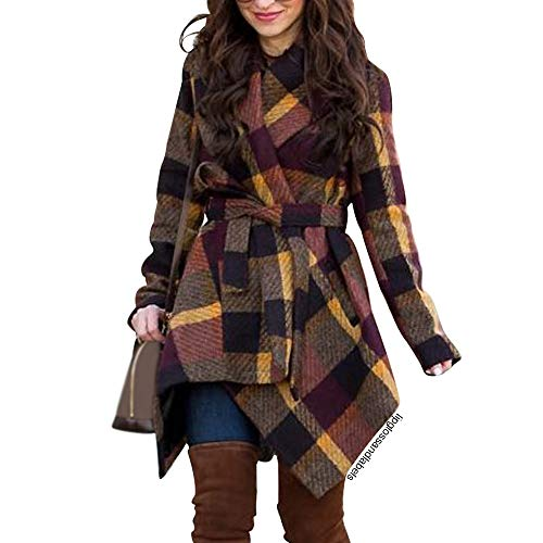 Chicwish Women's Turn Down Shawl Collar Open Front Long Sleeve Plum Check Asymmetric Hemline Wool Blend Coat -