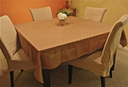 Polyester Prairie Burlap Tablecloth (wheat, 90x90 Square) by LinenLovers [並行輸入品] B0192DL37Y