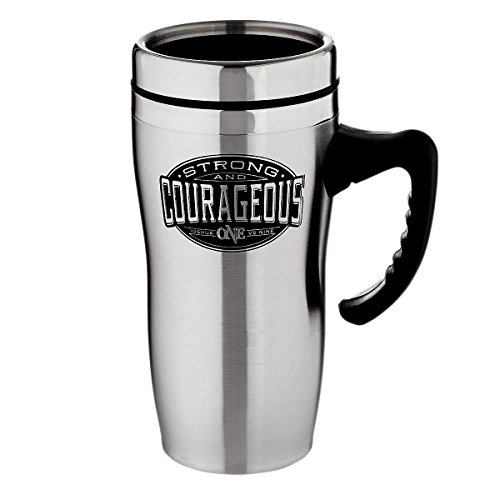 Be Strong and Courageous Collection Stainless Steel Travel Mug w/Handle - Joshua 1:9 by Christian Art Gifts