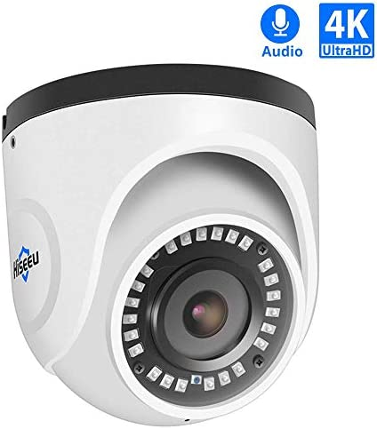 Hiseeu 4K PoE Dome Security Camera,1-Way Audio IP Camera with 2.8mm Sony Lens, Waterproof for Indoor Outdoor Security with Night Vision,Add-on Network Camera ONVIF Compatible