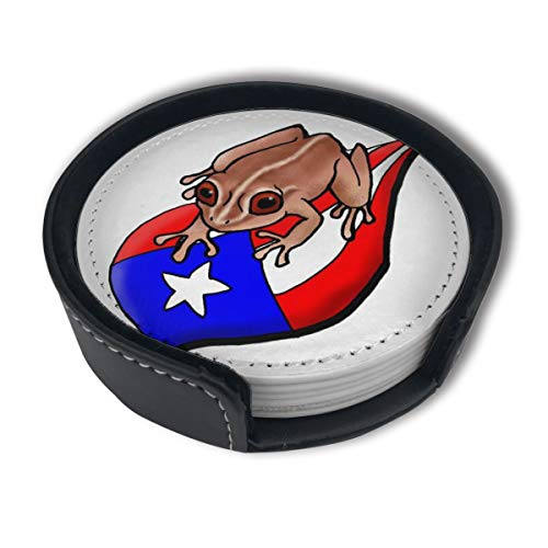 Puerto Rico Flag Coqui Coasters for Drinks,PU Leather Coasters with Holder,Protect Furniture from Damage(6PCS) (Leather Home Plate Coasters)