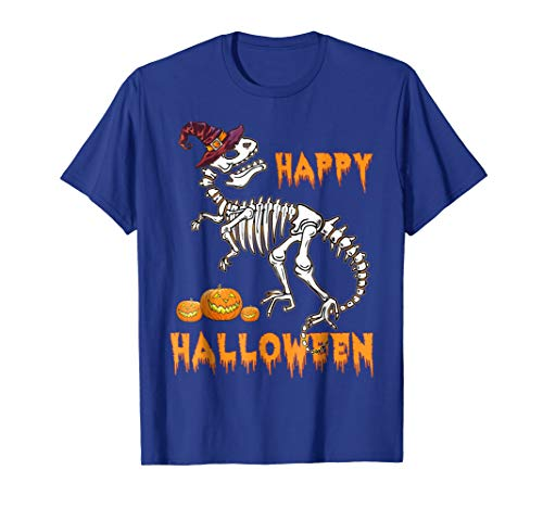 Mens Funny Happy Halloween T-Rex Skeleton Dinosaur T-Shirt Large Royal Blue -