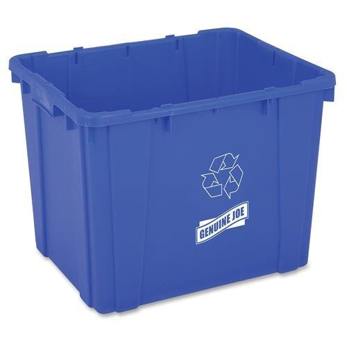 "Genuine Joe GJO11582 Recycling Bin, Rectangular, 14 gal Capacity, 14.5"" Height x 19.5"" Width x 15.4"" Depth, Blue (Pack of 1)"