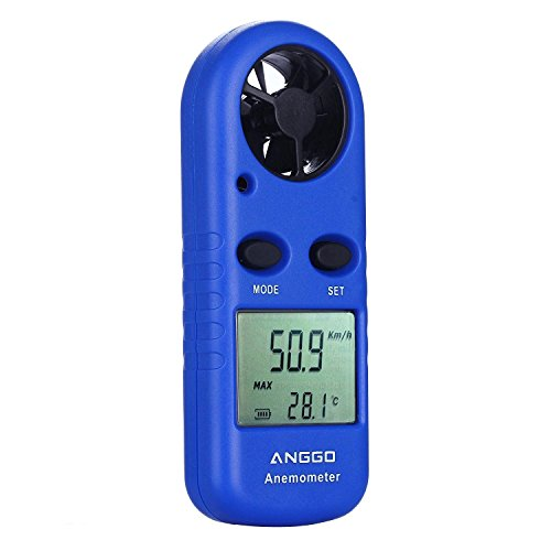 ANGGO Digital Wind Speed Anemometer with Thermometer for Personnal Camping Windsurfing Kite Flying Sailing Surfing