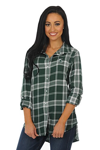 igan State Spartans Women's Boyfriend Plaid Roll Up Sleeve Shirt, Green/White, Medium ()