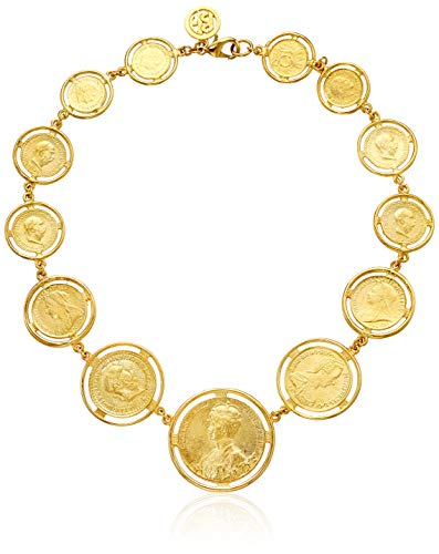 Ben-Amun Jewelry Moroccan Coin 24K Gold Plated Charm Pendant Bohemian Style Statement Necklace, One Size ()