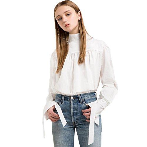 Women Shirt Solid Stand Collar Flare Long Sleeve Blouse Ruffle Elegant Shirt (Womens Beaded Ruffle Shirt)