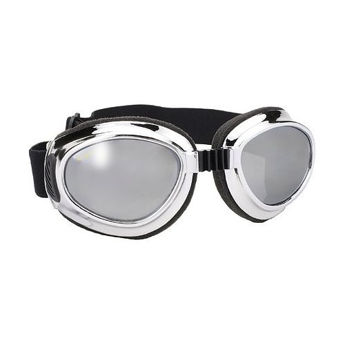 Coast Cruise Jacket (Airfoil Chrome Goggles with Silver Mirror Lens UV 400 Protection - One Size)