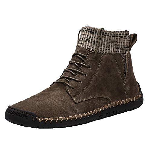 Respctful✿ Men Classic Slip On Driving Ankle Boots Knit Fur Lining Winter Lace-up Boots Handmade Casual Chukka Shoes Khaki