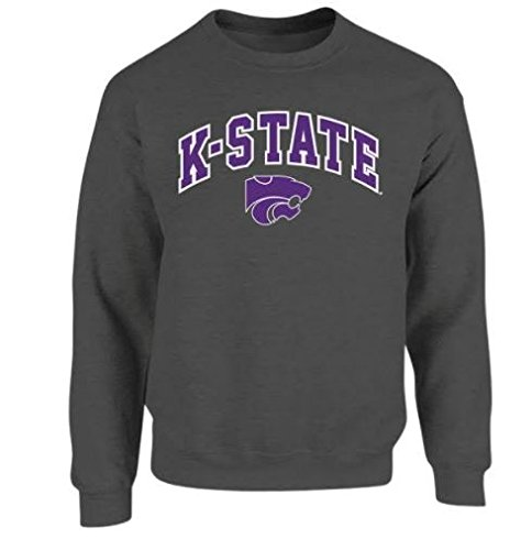 Elite Fan Shop NCAA Men's Kansas State Wildcats Crewneck Sweatshirt Dark Heather Arch Kansas State Wildcats Dark Heather XX ()
