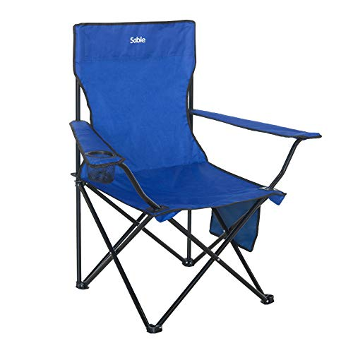 Sable Camping Chair, Portable Folding Chair with Cup Holder and Storage Bag, Outdoors Fishing Chair with Skid Proof Mud Feet for Fishing, Hiking and Picnic - Chair Sable