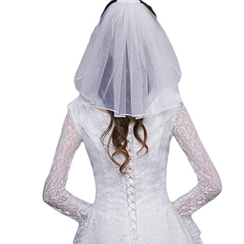 (Veilbridal Short Cute First Communion Veils Single Tier Bridal Wedding Veils With Comb White )