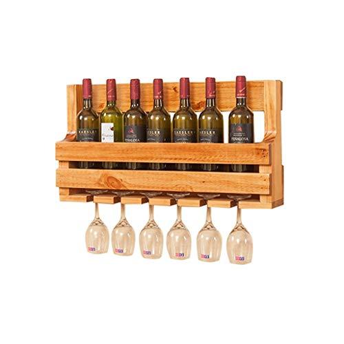 DUDDP Wine Holder Wine Shelf Wall Mount Pine Wood Unit Floating Shelf 8 Wine Bottle Rack Holder Wine Stand Goblet Holder Hanging 6 Wine Glass Shelf Organiser Countertop for Restaurants, Bars, Daily Ho
