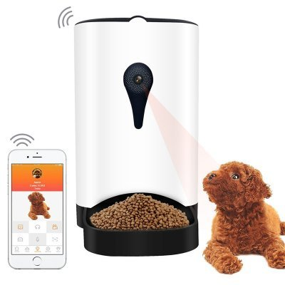 Automatic Food Dispenser - App Control, 1MP Camera, Speaker, 4.3L Barrel, Compatible With iOS And Android, For Dry Food. by Designed in USA