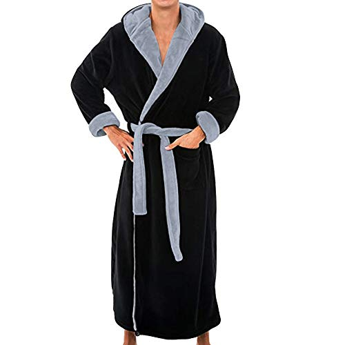 - iTLOTL Men's Winter Lengthened Plush Shawl Bathrobe Home Clothes Long Sleeved Robe Coat(Black,XL)