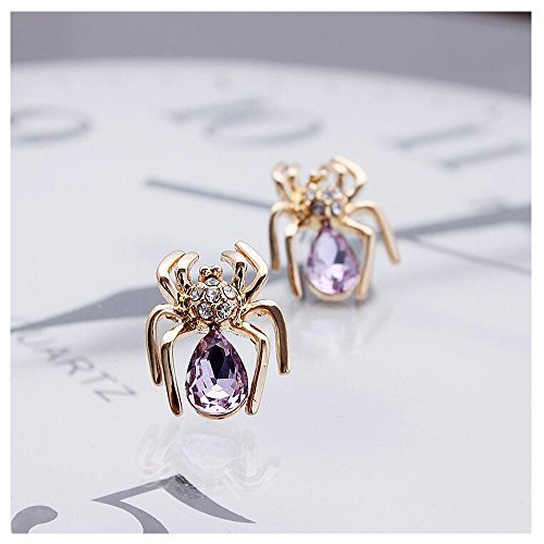 [Luck Wang Women's Unique Fashion Small Crystal Spider Diamond Stud Earrings(Gold Purple)] (Cats The Musical Victoria Costume)