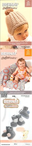 Bernat Softee Baby Yarn 3-Pack Pink Flannel Bundle Includes 3 Patterns Pink Gray White by Bernat (Image #2)
