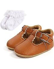 Sehfupoye Babyschoenen, antislip, eerste loopschoenen, baby, jongens, meisjes, prinses, zachte zool, schoenen voor all-petits, babyschoenen van PU-leer, Prewalker voor 0-18 maanden met sokken