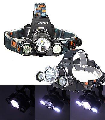 TORCIA LAMPADA FRONTALE LED RICARICABILE 3 LED 5000 LUMEN CREE T6 R5 RJ3000 TOPOLENASHOP