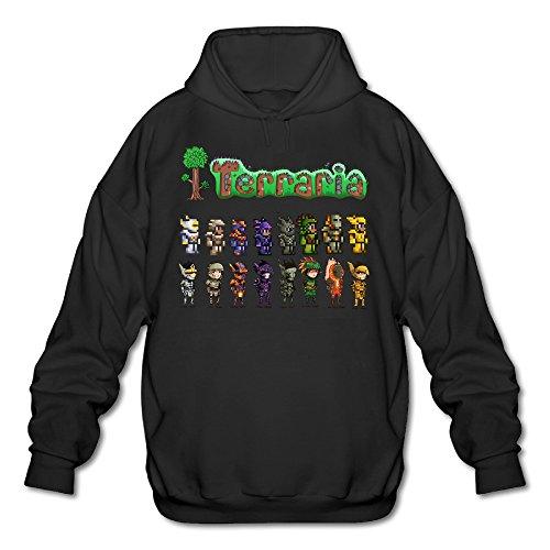 POOZ Men's Terraria Concept And Pixel Hooded Sweatshirt Black Size M]()