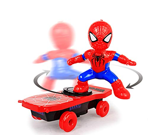 FENG JIA Scooter 360 Degree Rotation   Spiderman Stunt Action Children's Toys   Child's Birthday Present