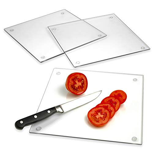 Tempered Glass Cutting Board - Long Lasting Clear Glass - Scratch Resistant, Heat Resistant, Shatter Resistant, Dishwasher Safe. (3 Square 10x10