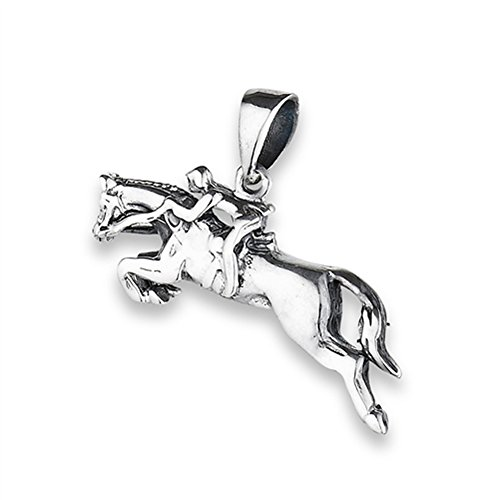 Jumping Horse Pendant .925 Sterling Silver Woman Riding Equestrian Show Charm (Silver Charm Horse)