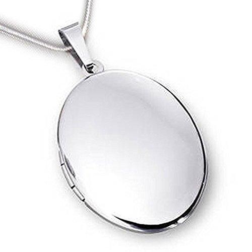 Medallón oval brillante - acero inoxidable con cadena ...