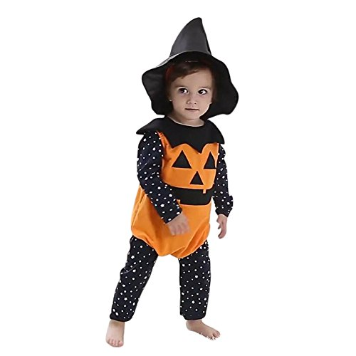 ZOEREA 3pcs Baby Pumkin Romper Halloween Outfit 3-18 Months Label (Demon Outfits Halloween)