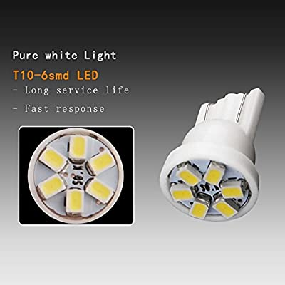 YITAMOTOR 10x T10 194 168 LED Dash Light Bulb White Dashboard LED Light Bulbs Bright Instrument Panel Gauge Cluster LED Light Bulbs and 10 Twist Lock Socket White, 12V: Automotive