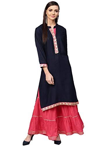 Women Navy Blue & Pink Printed Kurta with Palazzos Full Set Dream Angel Fashion (Small-34)