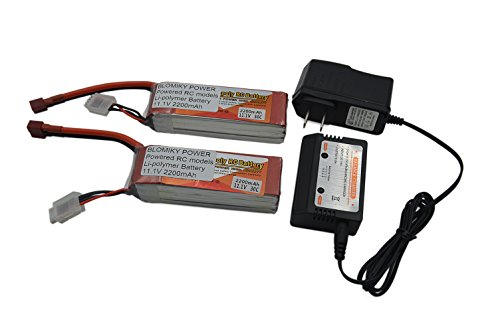 Blomiky 2 Pack 11.1V 3S 2200mAh 25C Lipo Battery Pack with T Deans Plug and Balance Charger for RC Airplane Helicopter Car RC Truck Boat Quadcopter T 11.1V 2200mAH 2