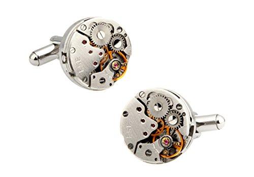 Purple Checkered Studs (Men's Fashion Cufflinks Watch Movements Mechanism Cuff-links with Velvet Gift Box (Silver1))