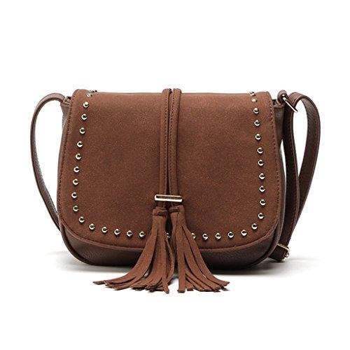 Wanfor Embroidery Boho Tassel Shoulder Bag Tote Messenger for Women Girl Coffee