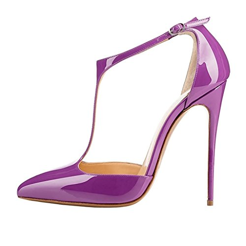Sammitop Women's Closed Toe High Heel Ankle Strap Pumps Buckle Closure Dress Shoes Plus Size Purple US7 ()