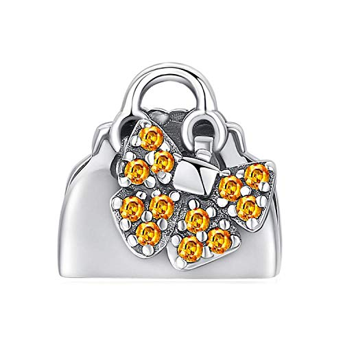 Accessories Handbag Yellow Cubic Zirconia 925 Sterling Silver Charm Beads for Women