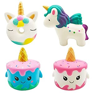 Vanely 4Pcs Slow Rising Jumbo Squishies Narwhale Cake,Uincorn Cake,Unicorn Donut,Rainbow Horse Set Cream Scented Soft…
