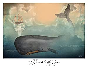 "Whale Fine Art 11""x14"" Print - Go With The Flow, Nautical, Vintage Beachy, Beach Print, Cottage Decor, Sea, Rustic Wall Art, Teal, Blue"