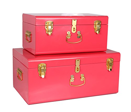 WiiSHAM Red Vintage-Style Steel Metal Storage Trunk Set with Gold Handles - Dorm & Bedroom Footlocker