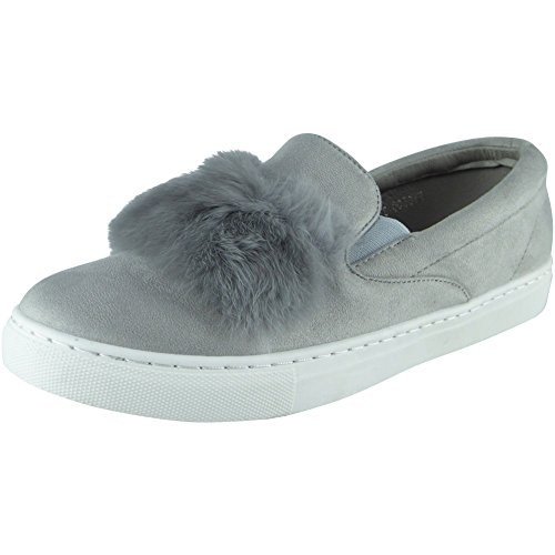 New Womens Ladies Trainers Faux Suede Slip On Flat Fur Sneakers Pumps Shoes Size 3-8 Grey ETHhY5zo