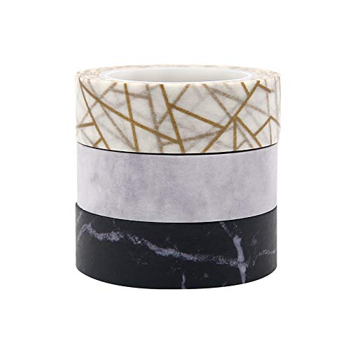 - 3 Rolls Marble Print Washi Tape Paper Adhesive Masking Tapes for DIY Scrapbooking Crafts Decor Labels Arts Crafts Gift Present (Marble Style)