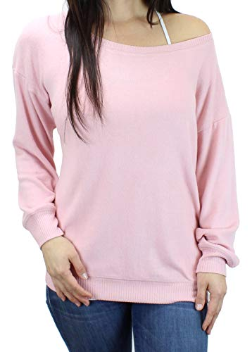Ms Lovely Women's Ultra Soft Off The Shoulder Boatneck Pullover Sweatshirt Cute Comfy Sweater - Pink Medium