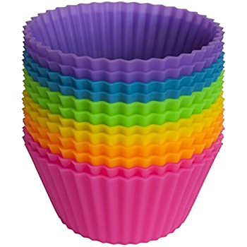 Pantry Elements Silicone Cupcake Liners / Baking Cups - 12 Vibrant Muffin Molds in Storage Jar