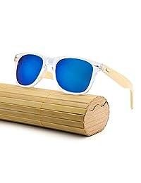 RabbitStorm Gafas de Sol de Madera de Bambú con Azul Lente Polarizada de Protección UV en Vintage Wayfarer Style- Gafas de Sol Modelo Niza - Bamboo -Unisex (Azul)