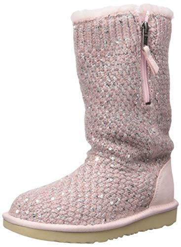 UGG Girls' Sequin Knit Fashion Boot, Pink Crystal, 1 M US Little Kid (Knit Uggs Boots)