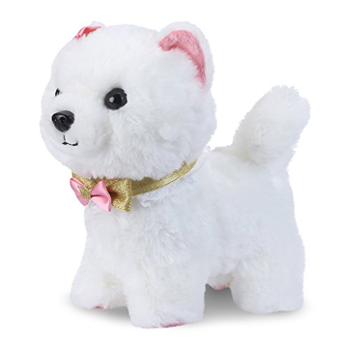 (Shinehalo Walking and Barking Puppy Dog Toy Pet Electronic Plush Dog Plush Interactive Pet Toys with Remote Control Leash, Gift Toys for Toddlers and Kids, White)