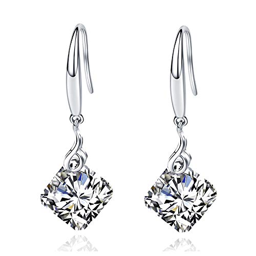Maylover 14k White Gold Plated 925 Sterling Silver 12mm Pear Shape Naked Drill Swarovski Element Crystal Dangle Earrings For Women (Square Clear) ()